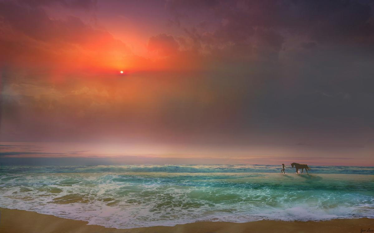 Девушка с лошадью идут по морю, by Igor Zenin