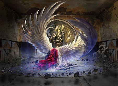 Фото Белокрылый ангел с ореолом над головой в магическом круге со свечением, на фоне разрушенного помещения у стены лежат скелеты, by Aegils