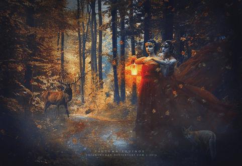Фото Две девушки стоят в лесу, одна из них держит фонарь в руке, рядом стоит затившаяся лиса, вдали стоит олень, вокруг летают осенние листья, by dreamswoman