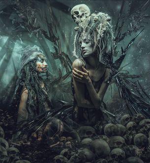 Фото Две девушки с закрытыми глазами, сидящие на груде черепов, на мрачном фоне текстур. У одной из них на голове череп и паутина, у другой на лице терн из проволоки, by Peter Brownz Braunschmid