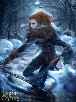 Фото Персонаж игры Легенда Криптиды / Legend Of The Cryptids на ледяной аллее с цепями в руке, в окружении белых фантастических волков, на зимнем фоне, by 태섭 신