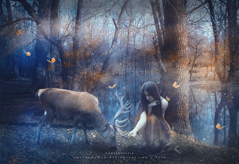 Фото Девушка грустная сидит на земле у дерева, рядом к ней наклонился олень, она касается рукой его рога, вокруг летают бабочки, на фоне деревьев без листвы, by dreamswoman
