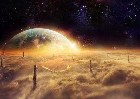 Фото Планета в облаках с необычными высотными пиками башен, by igreeny