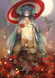 Фото Vocaloid Hatsune Miku / Вокалоид Хатсуне Мику в кимоно с зонтом среди красных ликорисов и бабочек