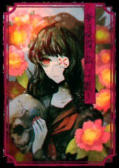 Фото Плачущая девушка с повязкой на глазу держит в руках череп, by 夢乃ゆめ