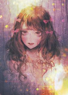 Фото Девушка с бантиками в волосах за мокрым стеклом, by 夢乃ゆめ