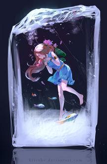 Фото Девушка и рыбки внутри кубика льда, by Krisahe