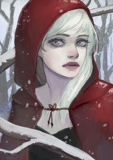 Фото Белокурая девушка в красном плаще с капюшоном, by thirteenthangel