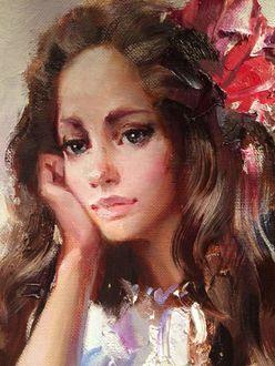 Фото Портрет грустной девушки, художник Иван Славинский