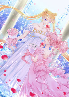 Фото Queen Serenity / Королева Серенити / Tsukino Usagi / Цукино Усаги и Small Lady / Юная Леди / Chibiusa / Чибиуса / Малышка из аниме Сейлор Мун / Sailor Moon