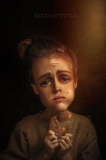 Фото Девочка со слезами на глазах, с кусочком хлеба в руках, by kozyafffka