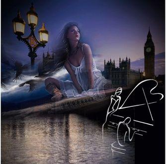 Фото Парень на фоне Темзы, Лондона и своей девушки исполняет на рояле для своей любимой ноктюрн