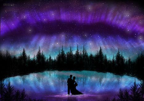 Фото Влюбленная пара стоит в озере, by Erisiar