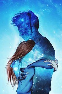 Фото Парень призрак из звезд обнимает девушку