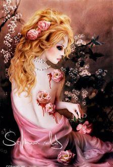 Фото Девушка с розами на волосах и розами, окровавленными на спине, держит в руке цветок на фоне природы, by Katarina Sokolova Latanska