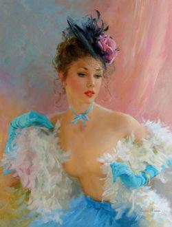 Фото Девушка в одежде нежнейших тонов, в длинных перчатках и в шляпке с цветком эротично обнажает плечи и грудь, художник Константин Разумов