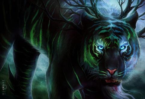 Фото Рогатый тигр с окровавленной пастью, by JoJoesArt