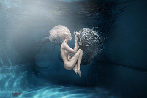 Фото Работа dance with the dragon / танец с драконом, обнаженная девушка под водой, фотограф Ника NMeln Мельн