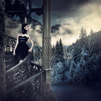 Фото Девушка в короне с татуировкой на фоне горного пейзажа, by Karolina Ryvolova