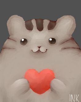 Фото Pusheen the cat / Кот Пушин держит в лапках красное сердечко, by InkJelly