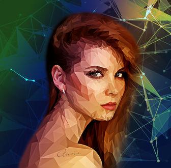 Фото Девушка в полигональной обработке, на фантастическом полигональном фоне (автор Анна)