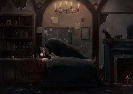 Фото Смерть с фонарем в руке наклонилась над телом девушки, by クロすけ