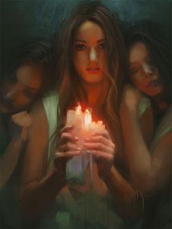 Фото Три девушки, одна из которых держит в руках горящие свечи, by KoenVM