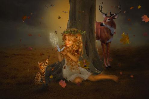 Фото Девочка с бабочкой сидит у дерева рядом с котенком и за деревом стоит олень, by HILIF