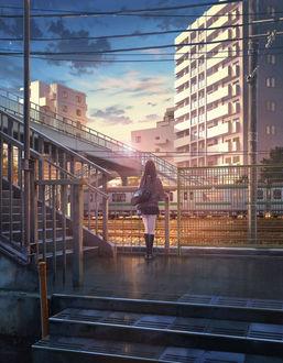 Фото Школьница смотрит на проезжающий поезд, by ショウイチ