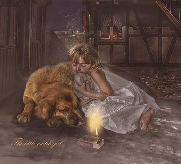 Фото Девочка спит рядом с собакой, by HILIF