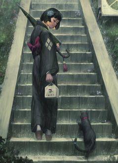 Фото Девушка c зонтом в руке, поднимаясь по ступенькам, смотрит на черного котенка, by GUWEIZ