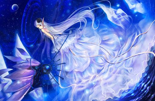 Фото Белокурая девушка-эльф с посохом в руке в космосе, by okuma◆お仕事募集