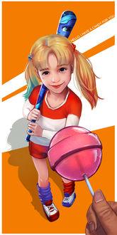 Фото Девочка, одетая как Harley Quinn / Харли Квинн смотрит на леденец в руке, by superschool48