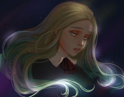 Фото Светловолосая девушка на фоне ночного неба, by chalii