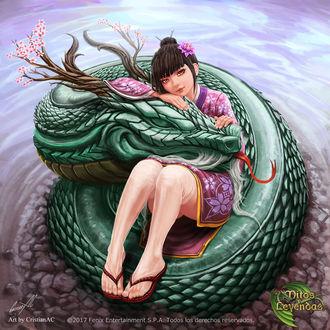 Фото Темноволосая девушка в кимоно и зеленый дракон у воды, by CristianAC