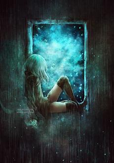 Фото Девушка с сигаретой сидит на окне, by NanFe