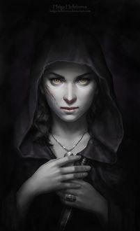 Фото Девушка с глазами волка, со шрамом на лице, одетая в черный плащ, держит в руках кинжал, by Helga-Helleborus