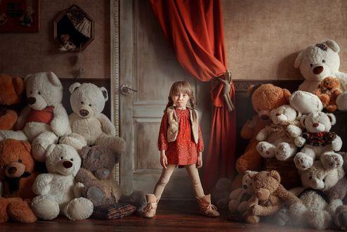 Фото Девочка стоит посреди игрушечных медведей, Фотограф Анна Гис