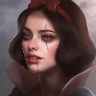 Фото Белоснежка с красным бантиком в волосах в образе вампира, aykutmaykut