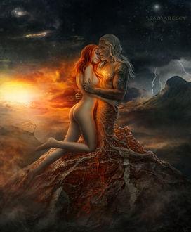 Фото Влюбленные на фоне заката, работа Пробуждение, by Андрей Самарцев