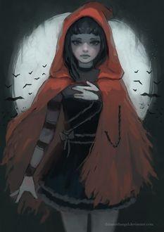 Фото Темноволосая девушка в красном плаще, by thirteenthangel