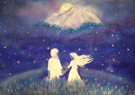 Фото Парень с девушкой стоят на фоне ночного неба, by FallenLeavesFairy