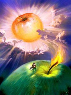 Фото Влюбленные сидят на огромном яблоке, художник Vladimir Kush