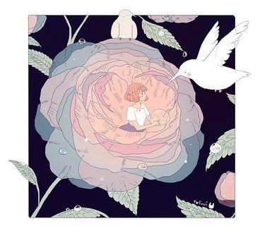 Фото Девушка с каплей росы в руках внутри цветка и колибри, by tofuvi