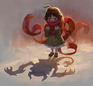 Фото Девочка с красным шарфом на шее, тень которого выглядит как монстр, by Hozure