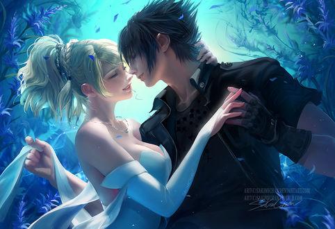 Фото Лунафрейя / Lunafreya и Ноктис / Noctis из игры и аниме Final Fantasy XV / Последняя фантазия XV собираются поцеловаться, art by sakimichan