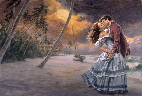 Фото Влюбленная пара стоит на берегу, художник James Griffin