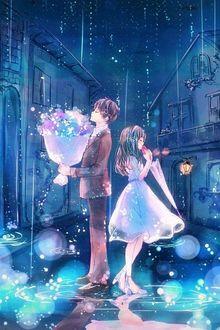 Фото Девушка с зонтом и парень с букетом цветов, стоят под дождем, на мокрой улице, повернувшись друг к другу спинами