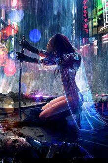 Фото Девушка в прозрачной накидке, с катаной в руках, стоит на коленях под дождем, на улице города, среди поверженных ею врагов