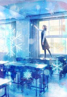 Фото Девушка, стоящая на парте, хочет коснуться снежинки, автор Yukihiro Nakamura